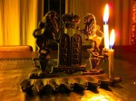 First Night of Chanukah - one of my mothers's 'ancient' oil-lit menorahs. Using candles, instead of oil.