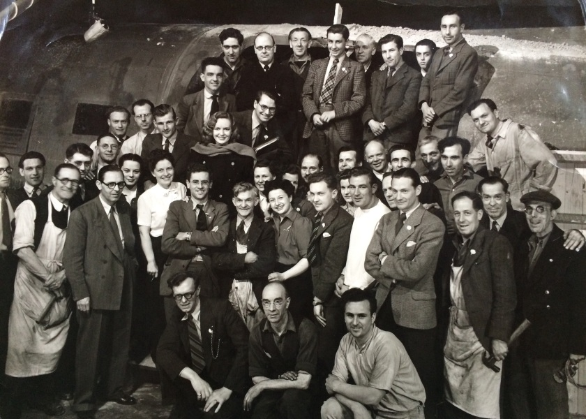 Shirley (centre) with the crew of Broken Journey and the star Phyllis Calvert (with the scarf). Pinewood Studios 1948